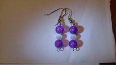 Purple white cat eye earrings