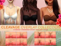 sims 4 cc // custom content skin details // Cleavage overlays in 20 versions 2 transparency options each. Works with EA skins and custom overlays under tattoo category. Found in TSR Category 'Sims 4 Female Skin Details' Sims 4 Body Mods, Los Sims 4 Mods, Sims 4 Game Mods, Sims 4 Cc Packs, Sims 4 Mm Cc, Sims Four, Sims 4 Mods Clothes, Sims 4 Clothing, Custom Clothing