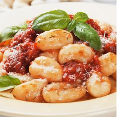 Gnocchi with Tomatoes, Green Olives, and Smoked Mozzarella - Shape Magazine