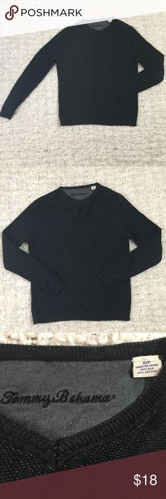 Tommy Bahama Black Long Sleeve Sweater This Tommy Bahama Long Sleeve sweater is in excellent condition.                                                              Material- 55% Silk/ 45% Cotton  No rips, no tears, no stains  Pet free/ Smoke free home  Measurements laying Flat:  Length- 24 inches  Armpit to armpit- 21 inches                                                  Armpit to cuff- 19 inches                                  Thanks for looking.  Please take a look at my other items…