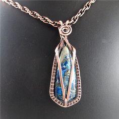 Wire Wrapped Pendant in Copper and Blue Jasper