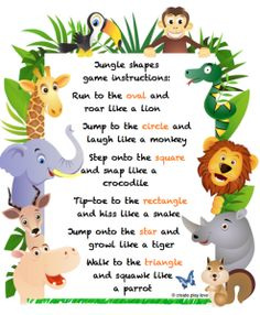 This is another great indoors activity and helps kids to practice their listening skills. Jungle Theme Activities, Preschool Jungle, Jungle Crafts, Preschool Songs, Preschool Learning Activities, Animal Activities, Preschool Classroom, Toddler Activities, Preschool Activities