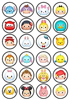 24 Tsum Tsum Edible PREMIUM THICKNESS SWEETENED VANILLA, Wafer Rice Paper Cupcake Toppers/Decorations