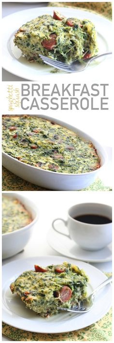 A healthy and delicious breakfast casserole packed full of low carb vegetables and breakfast sausage.