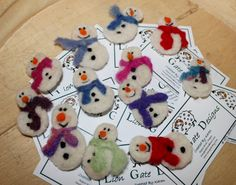 Needle Felted Snowman PIns