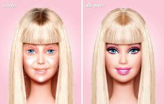 Bellissima, curata, sempre in ordine. Praticamente perfetta. Eppure anche per Barbie il fotoconfronto che la ritrae prima e dopo il trucco è impietoso. Ad immaginare la bambola di plastica senza il maquillage è stato l'artista messicano Eddi Aguirre: via il rossetto, l'ombretto, il rim