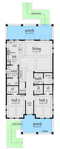 2 bedroom house plans 1000 square feet home plans for Low country beach house plans