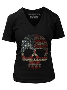 "Women's ""Floral Skull Flag"" Vintage Tee by Fifty5 Clothing (Black)"