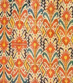 Uzbek (Bokhara) waxed silk ikat: repeating all-over floral and stem design (tribal, Uzbekistan/Afghanistan), c. 1850.