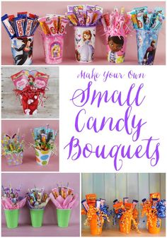 Small candy bouquets made in inexpensive containers are great for party favors, teacher's gifts, team parties, co-worker surprises,. cute gift Making Small Candy Bouquets Candy Boquets, Candy Bouquet Diy, Gift Bouquet, Sweet Bouquets Candy, Teacher Candy Bouquet, Candy Bouquet Birthday, Craft Gifts, Diy Gifts, Food Gifts