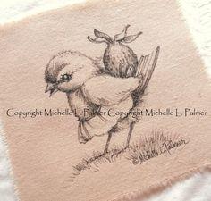 Original Pen Ink Fabric Illustration Quilt Label by MichellePalmer, $8.50