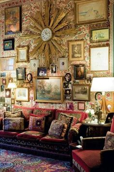 ⋴⍕ Boho Decor Bliss ⍕⋼ bright gypsy color hippie bohemian mixed pattern home decorating ideas - Home of Hubert  Isabelle d'Ornano, founders of perfumes  cosmetics Sisley