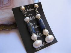 Italian Lapis and Pearl Sterling Silver Earring