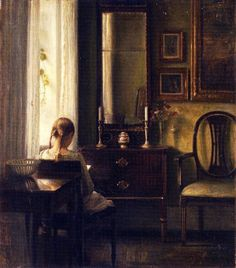 Carl Vilhelm Holsøe - Interior with a Girl Reading, 1903. DuVallon's Cabinet, on Facebook
