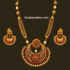 Antique Gold Necklace with Chandbali Pendant