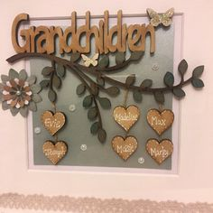 Crafts For Grandparents Personalised Grandparents Gift, Customised Grandparent Gift, Gift from Grandchildren, Grandparents Thank you Gift, Christmas box frame gift Personalised Grandparents Gift Customised Grandparent Gift Christmas Box Frames, Home Crafts, Diy And Crafts, Family Tree Frame, White Box Frame, Grandparent Gifts, Wooden Hearts, Baby Girl Gifts, Wooden Letters