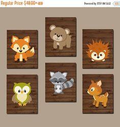 BOSQUE vivero pared arte, arte de la pared bosque, maderables Oso Animal venado ardilla búho mapache FOX niño dormitorio lona o impresiones juego de 6