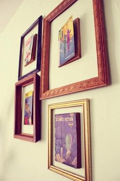 FRAMING BOOKS OR FAVOURITE MAGAZINE COVERS 21 Cool Ways to Use Books as Decoration in Your Home | StyleCaster