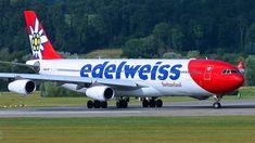Edelweiss Airbus (registered HB-JMF) at Zürich-Kloten Edelweiss, Airplane, Aircraft, Medium, Airplanes, Switzerland, Plane, Aviation, Medium Length Hairstyles