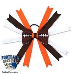 Handmade Football Hair Bow made from real football leather with Brown, Orange and White ribbon accents inspired by Cleveland football Football Hair Bows, Football Team, Different Font Styles, Rose Boutonniere, Team Mom, Elastic Hair Ties, Making Hair Bows, Ribbon Colors, How To Make Bows
