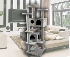 CW 50' Hiding Cat Tree Multi-Level Kitty Tree Private Soft-Sided at Condo Furniture Scratch Post Pole Pet Play House for Agility Training ** Read more reviews of the product by visiting the link on the image. (This is an affiliate link and I receive a commission for the sales)