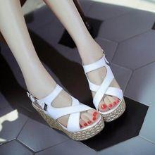 Zapatos de las mujeres 2017 Verano Nueva Moda de Los Altos Talones Cabeza de Pescado Sandalias de Cuña Del Dedo Del Pie Abierto B006(China (Mainland))