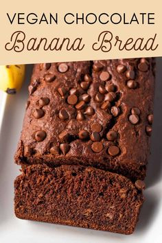This easy and fudgy Vegan Chocolate Banana Bread is dense, naturally sweet, and makes the perfect dairy-free and egg-free breakfast or snack. Easy to make, and absolutely delicious! Homemade Banana Bread, Vegan Banana Bread, Chocolate Banana Bread, Banana Bread Recipes, Vegan Breakfast Recipes, Chocolate Flavors, Vegan Chocolate, Chocolate Recipes, Plant Based Breakfast