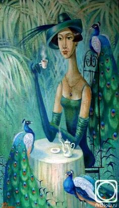 Kira Panina ~ The Peacock Garden Figure Painting, Painting & Drawing, Peacock Art, Magic Realism, Naive Art, Coffee Art, Coffee Time, Beautiful Paintings, Art World