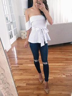 Ripped Skinny Jeans Outfit with Heels Fashion 2017, Fashion Outfits, Fashion Tips, Dress Fashion, Fashion Fall, Fashion Styles, Fashion Ideas, Travel Outfits, Fashion Edgy