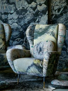 The fabrics are the result of Thompson's photographs of the Ionian Sea that are then woven in 100% cotton on a jacquard loom