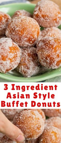 Just 3 ingredients is all you need to make these easy sugared Chinese donuts. Th… Just 3 ingredients is all you need to make these easy sugared Chinese donuts. They taste just like the ones you get at your favorite Asian buffet! Chinese Donuts, Chinese Deserts, Chinese Sugar Donuts Recipe, Thai Donuts Recipe, Chinese Cake, Easy Donut Recipe, Donut Recipes, Muffin Recipes, Asian Desserts