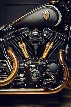 Harley Davidson black and gold engine