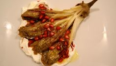 Roasted eggplant with pomegranate and greek yoghurt