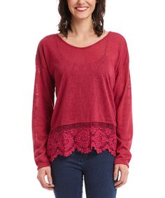 Loving this Wine Lace-Accent Scoop Neck Top on #zulily! #zulilyfinds