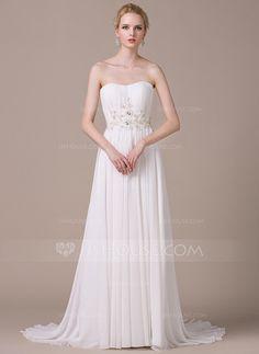 A-Line/Princess Sweetheart Sweep Train Chiffon Wedding Dress With Ruffle Lace…