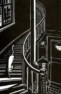 Illustration from Frans Masereel's 1925 book of woodcut prints entitled 'Die…