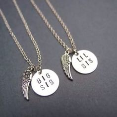 Jewels: sister necklace matching cute big sis lil sis wings big sis... ❤ liked on Polyvore