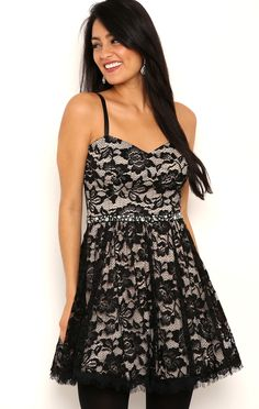 Deb Shops Short Corset A Line Dress with Eyelash Lace $38.25