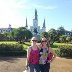 """Flashback to our jaunt in the """"Big Easy"""" two years ago  #neworleans #bigeasy #identicaltwins #twinsisters #louisiana #travel #flashback #jacksonsquare #frenchquarter #stlouiscathedral by twin_stagrams"""