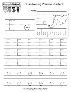 "This is a letter E tracing worksheet. Children can trace uppercase and lowercase letters and the word ""elephant."" Free Printable Alphabet Worksheets, Tracing Worksheets, English Worksheets For Kindergarten, School Worksheets, Handwriting Practice Worksheets, Uppercase And Lowercase Letters, Letter E, Lower Case Letters, Motor Skills"