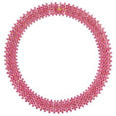 """Lot 186   Gold and Ruby Necklace   18 kt., ap. 45 dwt. Length 18 1/2 inches.     C    Estimate $2,500-3,500     Rubies: medium to deep pinkish-red, moderately to very included. bright to cloudy, minor hairline crack, lively.     Well-made handmade mounting, nice open wirework.     Good condition. Width 7/8"""".  Doyle auction."""