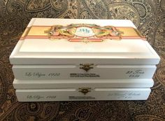 White Wooden Cigar Boxes Davidoff My Father Le Bijou Purses Crafts