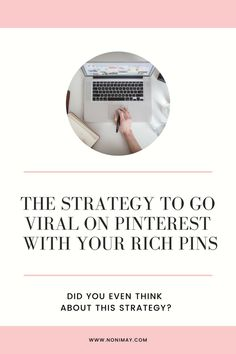 The strategy to go viral on Pinterest with your rich pins. Did you even think about this Pinterest Strategy?   #pinterestmarketing #marketing #pinterest #socialmedia #traffic Business Marketing, Online Marketing, Social Media Marketing, Content Marketing, Digital Marketing, Business Advice, Online Business, Pinterest For Business, Blogger Tips