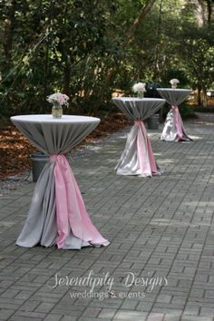 pink gray wedding cocktail tables at Eden Gardens state park www.serendipity-designs.com