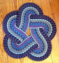 5 Petal crafted rug from recycled rock climbing rope.