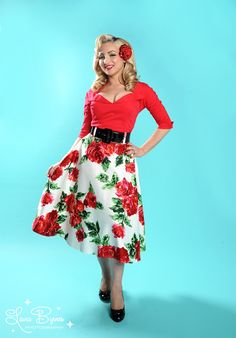 Doris Skirt in Red Floral Print - Our love affair with the Doris skirt continues!  This gorgeous full skirt is pure vintage style in a luxe cotton sateen, with a wide vinyl belt to define your waist and a flattering full swing cut.  Lovely in retro red floral!