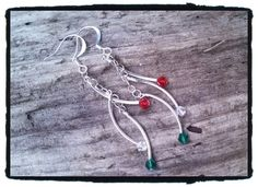 Crystal Christmas Earrings Red Green and Clear by JuneMoonBeads, $11.99