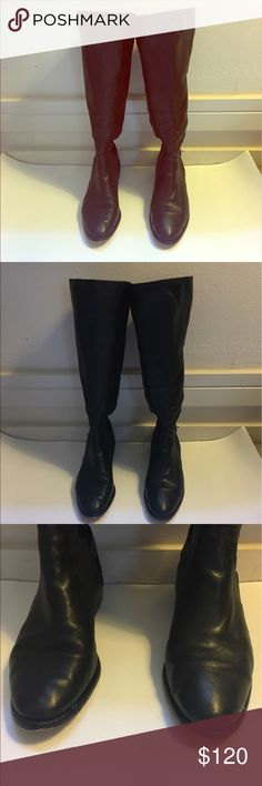 COACH LEATHER AND NYLON RIDING BOOTS Traditional style riding boots. Leather front and stretch nylon in the back with leather stripe up the back. Silver buckle and logo at bottom as shown. Some knicks on front and back of left boot as shown. Works for people who wear a  wide calf boot if you wear them with tights or leggings. Worn less than five times. Height is 17 inches. Shaft circumference is 14 but can stretch. Coach Shoes Heeled Boots