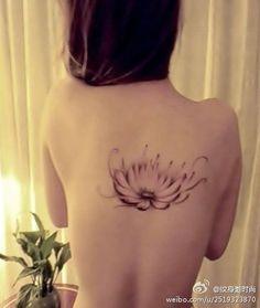 simple lotus #flower #tattoo on the back