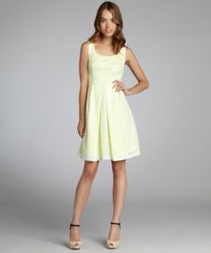Tahari joey white and lemoncello lace 'Jenny' scoop neck dress